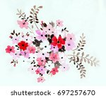 blooming flowers  the leaves... | Shutterstock . vector #697257670