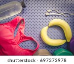 gym workout accessory from pink ... | Shutterstock . vector #697273978