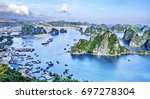 Small photo of beautiful green limestone mountains in halon bay vietnam asia.