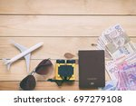 passport  airplane  sunglasses  ... | Shutterstock . vector #697279108