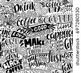 seamless lettering coffee...   Shutterstock .eps vector #697280530