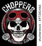 vintage biker skull emblem tee... | Shutterstock .eps vector #697281466