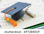 graduate study abroad program... | Shutterstock . vector #697284019