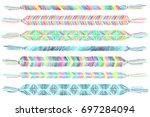 friendship bracelets set.... | Shutterstock .eps vector #697284094