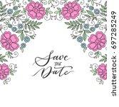 colorful flower design frame.... | Shutterstock .eps vector #697285249