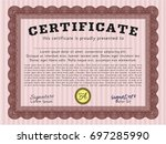 red certificate template. with... | Shutterstock .eps vector #697285990