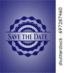 save the date denim background | Shutterstock .eps vector #697287460