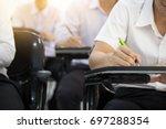soft focus university or high... | Shutterstock . vector #697288354