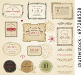 retro hand drawn labels  frames ... | Shutterstock .eps vector #697288528