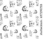 Stock photo seamless pattern from watercolor black and white cute and lovely kittens watercolor animal 697290703
