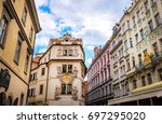 prague is the capital of the... | Shutterstock . vector #697295020