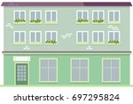 urban multi storey house with...   Shutterstock .eps vector #697295824