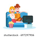 couple in love watching tv with ... | Shutterstock .eps vector #697297906