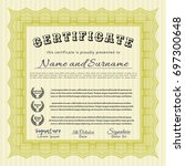 yellow certificate of... | Shutterstock .eps vector #697300648