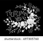 vintage autumn lettering flower ... | Shutterstock .eps vector #697305760