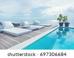 the edge luxury swimming pool... | Shutterstock . vector #697306684