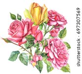 bouquet yellow and red roses ... | Shutterstock . vector #697307569