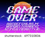 glith typeface game over.... | Shutterstock .eps vector #697310836