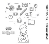 monochrome background of... | Shutterstock .eps vector #697312588