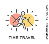icon time travel. moving a... | Shutterstock .eps vector #697314898