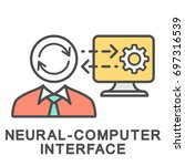 icon neural computer interface. ... | Shutterstock .eps vector #697316539