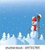 the snowman among winter... | Shutterstock .eps vector #69731785