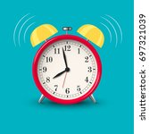 ringing alarm clock red in... | Shutterstock . vector #697321039
