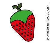 strawberry fruit icon   Shutterstock .eps vector #697327354