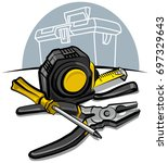 set of measurement and working... | Shutterstock . vector #697329643