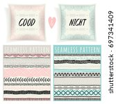 set with pillows and seamless... | Shutterstock .eps vector #697341409