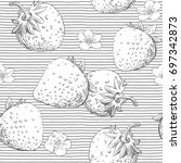 strawberry seamless pattern... | Shutterstock .eps vector #697342873