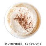 top view of hot coffee latte... | Shutterstock . vector #697347046