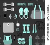 vector pattern of fitness... | Shutterstock .eps vector #697348063