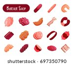 set of isolated meat products... | Shutterstock .eps vector #697350790