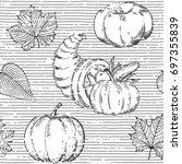 thanksgiving seamless pattern.... | Shutterstock .eps vector #697355839