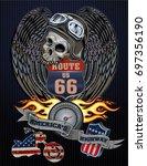 vintage motorcycle label | Shutterstock .eps vector #697356190
