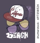 california beach t shirt print... | Shutterstock .eps vector #697358524