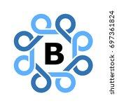 blue simple loops frame symbol... | Shutterstock .eps vector #697361824