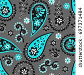 blue and white paisley seamless ... | Shutterstock .eps vector #697371484