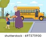 young girl going to school... | Shutterstock .eps vector #697375930