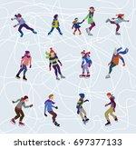 characters set of happy figure... | Shutterstock .eps vector #697377133