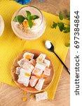 top view of a dessert. turkish... | Shutterstock . vector #697384864