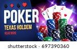 illustration of casino chips ... | Shutterstock .eps vector #697390360