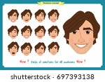 set of male facial emotions.... | Shutterstock .eps vector #697393138