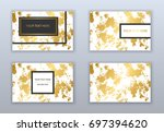 set of white and gold business... | Shutterstock .eps vector #697394620