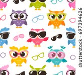 seamless pattern with colorful ... | Shutterstock .eps vector #697394626