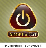 golden badge with power icon...   Shutterstock .eps vector #697398064