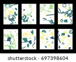 set of 8 cover templates with... | Shutterstock .eps vector #697398604
