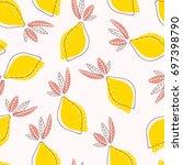 trendy cute abstract lemons... | Shutterstock .eps vector #697398790
