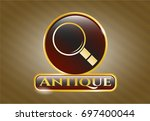 gold shiny badge with... | Shutterstock .eps vector #697400044